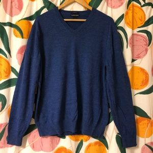 Lands End merino wool royal blue v neck sweater